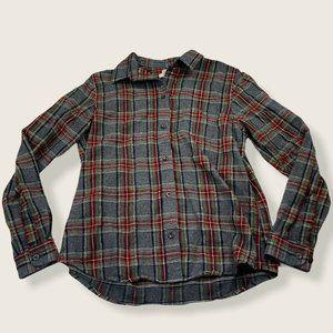 LL Bean Scotch Plaid Flannel Button Down Shirt S